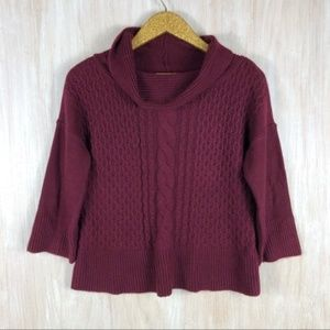 WHBM Burgundy Cable Mix Knit Cowl Sweater